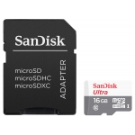 SanDisk 16GB Ultra Micro SD (SDHC) Card, Inc Adapter, 80MB/s R, 10MB/s W