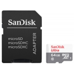 SanDisk 64GB Ultra Micro SD (SDXC) Card, Inc Adapter, 80MB/s R, 10MB/s W