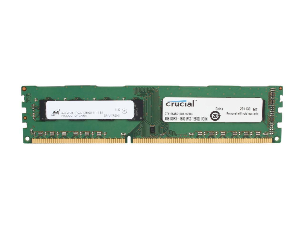 Crucial PC3-12800 memory module 4 GB 1 x 4 GB 21 1600 MHz