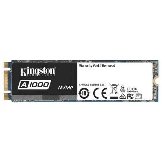 Kingston 480GB A1000 SSD M.2 (2280), NVMe, PCIe 3.0 (x2), 1500MB/s R, 900MB/s W