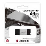 Kingston 64GB DataTraveler DT80 Type-C Flash Drive USB 3.2, Gen1, 200MB/s