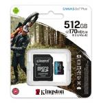 Kingston 512GB Canvas Go Plus Micro SD (SDXC) Card U3, V30, A2, 170MB/s R, 90MB/s W