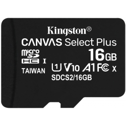 Kingston 16GB Canvas Select Plus Micro SD (SDHC) Card U1, V10, A1, 100MB/s R, 10MB/s W