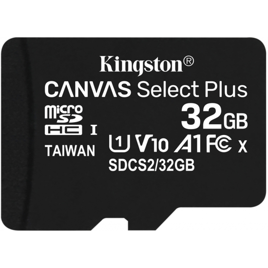 Kingston 32GB Canvas Select Plus Micro SD (SDHC) Card U1, V10, A1, 100MB/s R, 10MB/s W