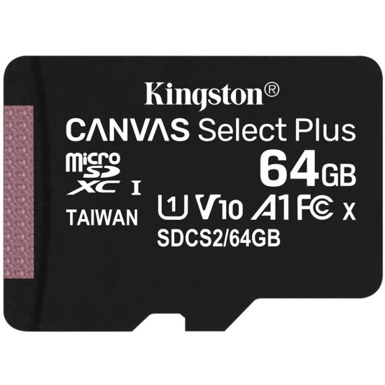Kingston 64GB Canvas Select Plus Micro SD (SDXC) Card U1, V10, A1, 100MB/s R, 10MB/s W