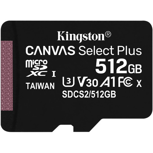 Kingston 512GB Canvas Select Plus UHS-I Micro SD (SDXC) Memory Card