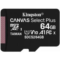 Kingston 64GB 2P1A Canvas Select Plus Micro SD (SDXC) Card U1, V10, A1, 100MB/s R, 10MB/s W