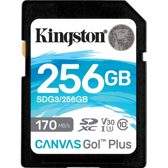 Kingston 256GB Canvas Go Plus SD (SDXC) Card U3, V30, A2, 170MB/s R, 90MB/s W