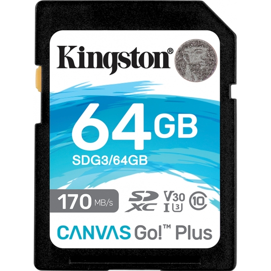 Kingston 64GB Canvas Go Plus SD (SDXC) Card U3, V30, 170MB/s R, 70MB/s W