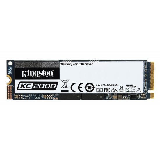 Kingston 500GB KC2000 SSD M.2 (2280), NVMe, PCIe 3.0 (x4), 3000MB/s R, 2000MB/s W