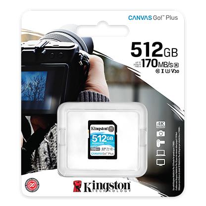 Kingston 512GB Canvas Go Plus SD (SDXC) Card U3, V30, A2, 170MB/s R, 90MB/s W