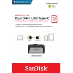 SanDisk 32GB Ultra Dual Type-C/OTG Flash Drive USB 3.1, 150MB/s