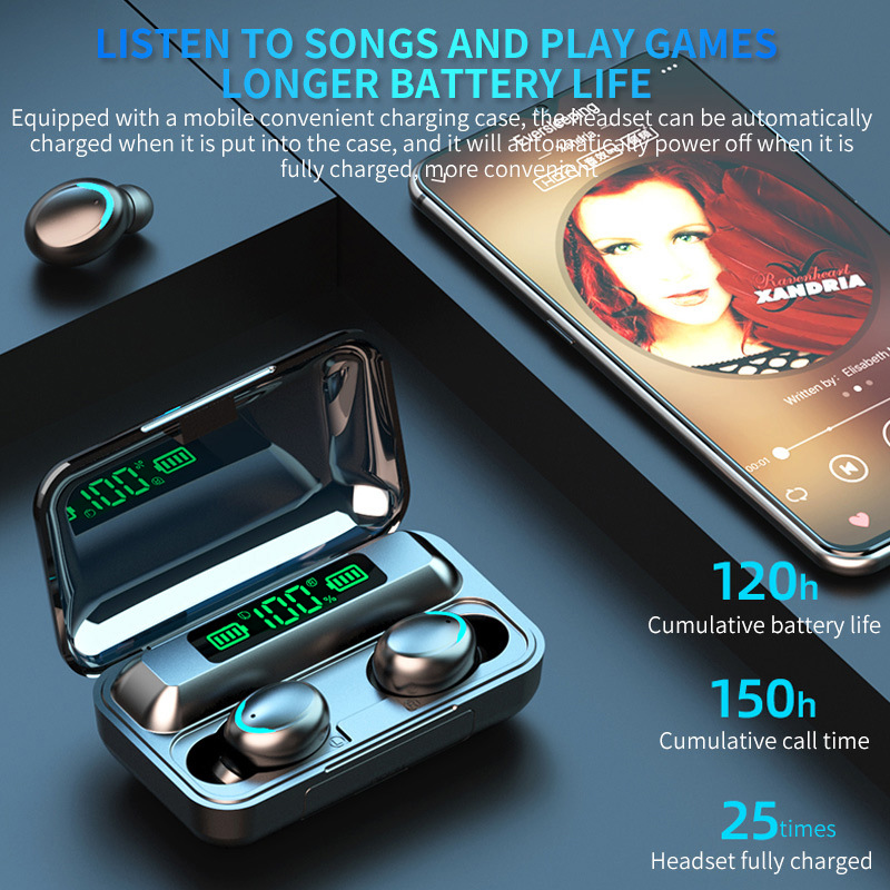Wireless Bluetooth 5.0 Headphones Earphones Mini In-Ear Buds For IOS, Android